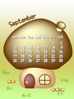 9月カレンダー(きのこ家)